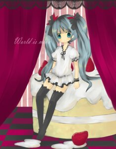 Rating: Safe Score: 5 Tags: dress hatsune_miku mochiko thighhighs vocaloid world_is_mine_(vocaloid) User: charunetra