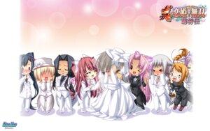 Rating: Safe Score: 14 Tags: baseson chibi dress koihime_musou megane shin_koihime_musou wallpaper wedding_dress User: maurospider