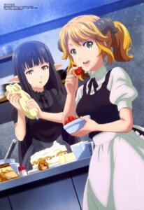 Rating: Safe Score: 41 Tags: aletta_(isekai_shokudou) cream horns imoto_yuki isekai_shokudou kuro_(isekai_shokudou) pointy_ears waitress User: drop