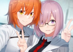 Rating: Safe Score: 17 Tags: dacchi fate/grand_order fujimaru_ritsuka mash_kyrielight megane User: mash