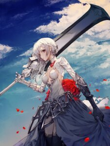 Rating: Safe Score: 104 Tags: armor cleavage dress no_bra sinoalice snow_white_(sinoalice) sword thighhighs wanke User: mash