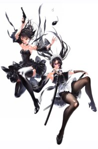 Rating: Questionable Score: 49 Tags: cleavage gun hoojiro maid pantyhose stockings sword thighhighs torn_clothes weapon User: Dreista