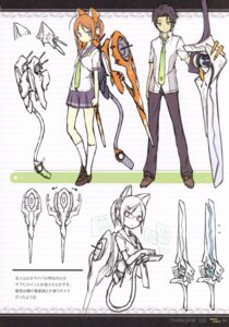 Rating: Safe Score: 11 Tags: animal_ears asahiage mecha_musume megane nekomimi poco seifuku sketch sword wings User: fireattack