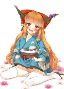 Rating: Explicit Score: 27 Tags: horns ibuki_suika nishiuri nopan pointy_ears pussy skirt_lift thighhighs touhou yukata User: Mr_GT