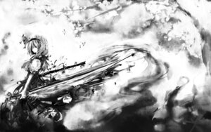 Rating: Safe Score: 13 Tags: hinomaru_(artist) konpaku_youmu monochrome sword touhou wallpaper User: charunetra