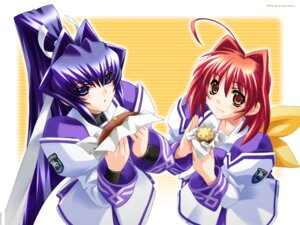 Rating: Safe Score: 11 Tags: bou kagami_sumika mitsurugi_meiya muvluv muvluv_alternative seifuku wallpaper User: noirblack