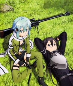 Rating: Safe Score: 69 Tags: gun kirito sinon sword_art_online thighhighs User: drop