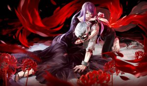 Rating: Safe Score: 44 Tags: blood dress eyepatch heels kamishiro_rize kaneki_ken megane nye tokyo_ghoul User: Mr_GT