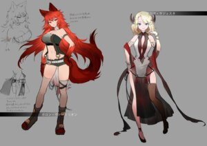 Rating: Questionable Score: 26 Tags: animal_ears character_design cleavage dress heels horns sketch stockings tagme tail thighhighs User: h71337