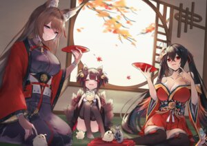 Rating: Safe Score: 24 Tags: akagi_(azur_lane) amagi_(azur_lane) animal_ears azur_lane japanese_clothes kitsune no_bra open_shirt skirt_lift tagme taihou_(azur_lane) tail thighhighs User: BattlequeenYume