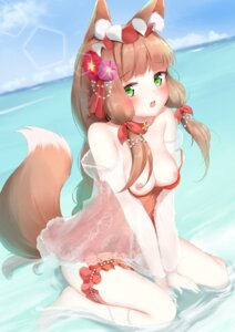 Rating: Questionable Score: 48 Tags: animal_ears breasts garter himemiya_maho kitsune nipples princess_connect princess_connect!_re:dive see_through swimsuits tail wet white_clover_(unfy8472) User: BattlequeenYume