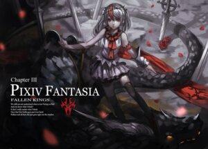 Rating: Safe Score: 18 Tags: armor baka_(mh6516620) monster pixiv_fantasia pixiv_fantasia_fallen_kings sword thighhighs User: Noodoll