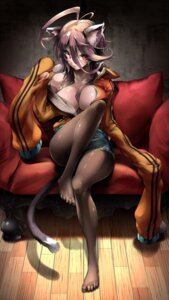 Rating: Safe Score: 102 Tags: animal_ears cleavage megane nekoarashi nekomimi no_bra open_shirt pantyhose tail User: Aneroph