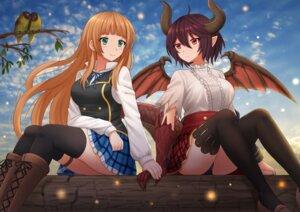 Rating: Safe Score: 15 Tags: garter granblue_fantasy horns kazenokaze pantsu pointy_ears seifuku shingeki_no_bahamut tail thighhighs wings yuri User: Mr_GT