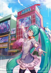 Rating: Safe Score: 21 Tags: cleavage hatsune_miku headphones megane oop thighhighs vocaloid User: charunetra