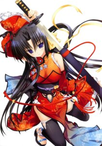 Rating: Safe Score: 55 Tags: cleavage fujima_takuya kurugaya_yuiko little_busters! see_through sword thighhighs User: crim