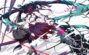 Rating: Safe Score: 53 Tags: bandages hatsune_miku open_shirt sen_ya tattoo thighhighs torn_clothes underboob vocaloid weapon User: RyuZU