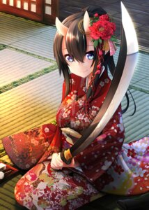 Rating: Safe Score: 53 Tags: horns kimono nekobaka sword User: Aneroph