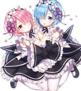 Rating: Safe Score: 46 Tags: cleavage jimmy maid pantyhose ram_(re_zero) re_zero_kara_hajimeru_isekai_seikatsu rem_(re_zero) User: Mr_GT