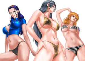 Rating: Questionable Score: 40 Tags: bikini boa_hancock cleavage erect_nipples megane nami nico_robin no_bra one_piece open_shirt pantsu swimsuits tagme tattoo underboob User: Radioactive