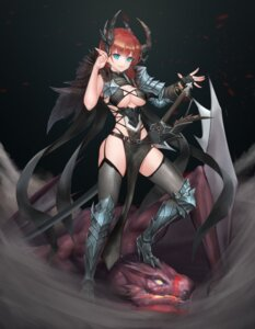 Rating: Safe Score: 26 Tags: armor bikini_armor cleavage doha_skylightscent heels horns monster pointy_ears stockings sword thighhighs User: Mr_GT