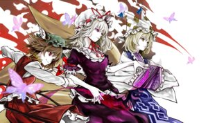 Rating: Safe Score: 17 Tags: animal_ears chen dress nekomimi tail touhou yakumo_ran yakumo_yukari yutapon User: charunetra