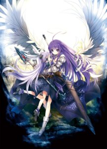 Rating: Safe Score: 57 Tags: armor aselia_bluespirit dress eien_no_aselia heels hitomaru sword weapon wings User: KazukiNanako