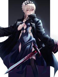 Rating: Questionable Score: 25 Tags: dress fate/grand_order hongsung0819 saber saber_alter sword thighhighs User: Mr_GT