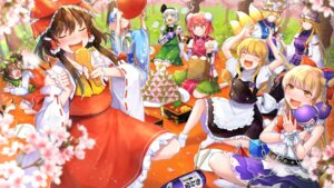 Rating: Safe Score: 11 Tags: 13_(spice!!) animal_ears chen dress hakurei_reimu horns kirisame_marisa kitsune konpaku_youmu myon neko nekomimi saigyouji_yuyuko sake tail touhou witch yakumo_ran yakumo_yukari User: Mr_GT