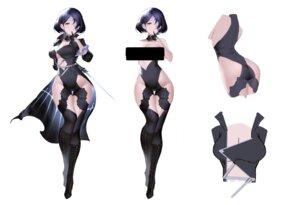 Rating: Questionable Score: 31 Tags: an_yasuri ass censored character_design heels leotard no_bra nopan sketch sword thighhighs User: BattlequeenYume