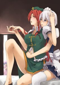 Rating: Safe Score: 29 Tags: hong_meiling izayoi_sakuya kyouya remilia_scarlet thighhighs touhou yuri User: Mr_GT
