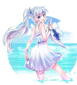 Rating: Safe Score: 30 Tags: dress iesupa rwby skirt_lift summer_dress weiss_schnee wet User: Radioactive