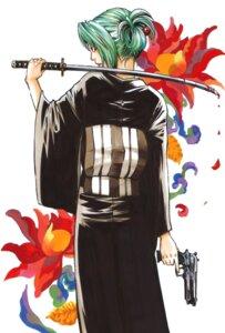 Rating: Safe Score: 8 Tags: gun higurashi_no_naku_koro_ni kimono mimori_(mangaka) sonozaki_shion sword User: cyberwire