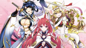 Rating: Questionable Score: 24 Tags: amagai_yukino cleavage garter goou_yoshimitsu horns japanese_clothes jouizumi_masamune kuwana_gou no_bra see_through sword takami_yuuki tenka_hyakken usatsuka_eiji User: zyll