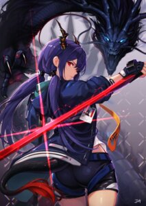 Rating: Safe Score: 37 Tags: arknights ass baek_hyang ch'en_(arknights) horns monster sword tail User: Nepcoheart