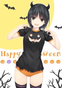 Rating: Safe Score: 94 Tags: aoyama_sumika buruma cleavage coffee-kizoku halloween horns thighhighs User: NickS07