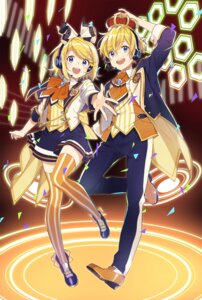 Rating: Safe Score: 21 Tags: buuta headphones kagamine_len kagamine_rin thighhighs vocaloid User: Mr_GT