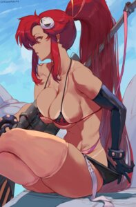 Rating: Questionable Score: 54 Tags: bikini_top gun robutts swimsuits tan_lines tengen_toppa_gurren_lagann thighhighs undressing yoko User: BattlequeenYume