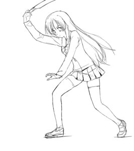 Rating: Safe Score: 3 Tags: a1 initial-g katsura_kotonoha monochrome school_days seifuku sketch thighhighs User: Radioactive