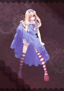 Rating: Safe Score: 58 Tags: alice alice_in_wonderland bloomers dress lolita_fashion nana_mikoto skirt_lift thighhighs User: fireattack