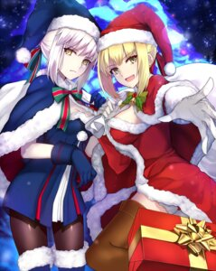 Rating: Safe Score: 42 Tags: christmas cleavage dress fate/grand_order pantyhose saber saber_alter saber_extra shiguru thighhighs User: Mr_GT