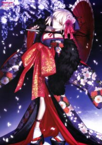 Rating: Safe Score: 85 Tags: fate/stay_night fate/stay_night_heaven's_feel japanese_clothes no_bra open_shirt saber saber_alter takeuchi_takashi type-moon umbrella User: drop