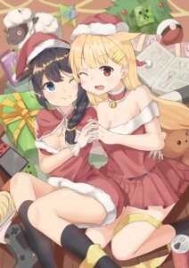 Rating: Safe Score: 14 Tags: christmas cleavage dress kantai_collection lingnerpoi no_bra shigure_(kancolle) skirt_lift yuri yuudachi_(kancolle) User: Mr_GT