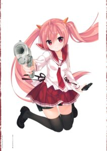 Rating: Safe Score: 54 Tags: fixed gun hidan_no_aria kanzaki_h_aria kobuichi seifuku thighhighs User: fireattack