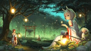 Rating: Safe Score: 68 Tags: animal_ears landscape miko pinakes tail thighhighs User: Mr_GT