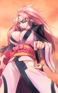 Rating: Safe Score: 18 Tags: amei_sumeru baiken cleavage eyepatch guilty_gear_xrd japanese_clothes no_bra open_shirt sword tattoo User: mash