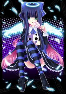 Rating: Questionable Score: 16 Tags: pantsu panty_&_stocking_with_garterbelt shimapan shira_yuri stocking thighhighs wings User: blooregardo