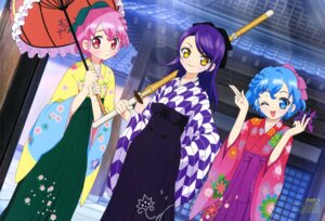 Rating: Questionable Score: 12 Tags: dorothy_west hara_shoji leona_west pripara sword toudou_shion umbrella yukata User: drop