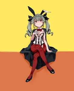 Rating: Questionable Score: 10 Tags: anchovy animal_ears aomushi_(mushamusha) bunny_ears bunny_girl girls_und_panzer heels no_bra pantyhose User: Mr_GT