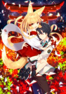 Rating: Safe Score: 30 Tags: animal_ears ass kitsune miko nopan tail yusano User: 麻里子
